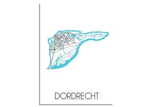 DesignClaud Dordrecht Stadskaart Plattegrond poster - Interieur poster - Wit