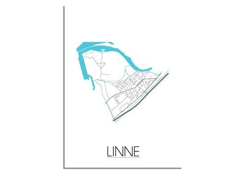 DesignClaud Linne Stadskaart Plattegrond poster - Interieur poster - Wit