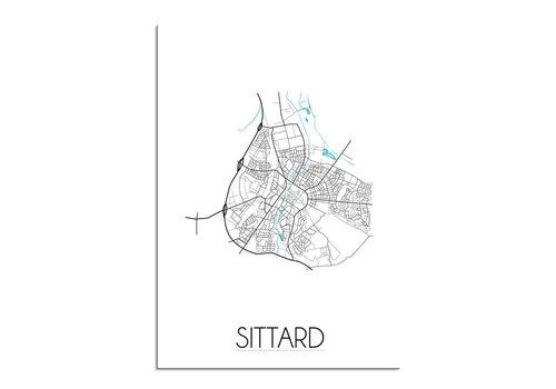 DesignClaud Sittard - Stadskaart - Plattegrond - Interieur poster - wit