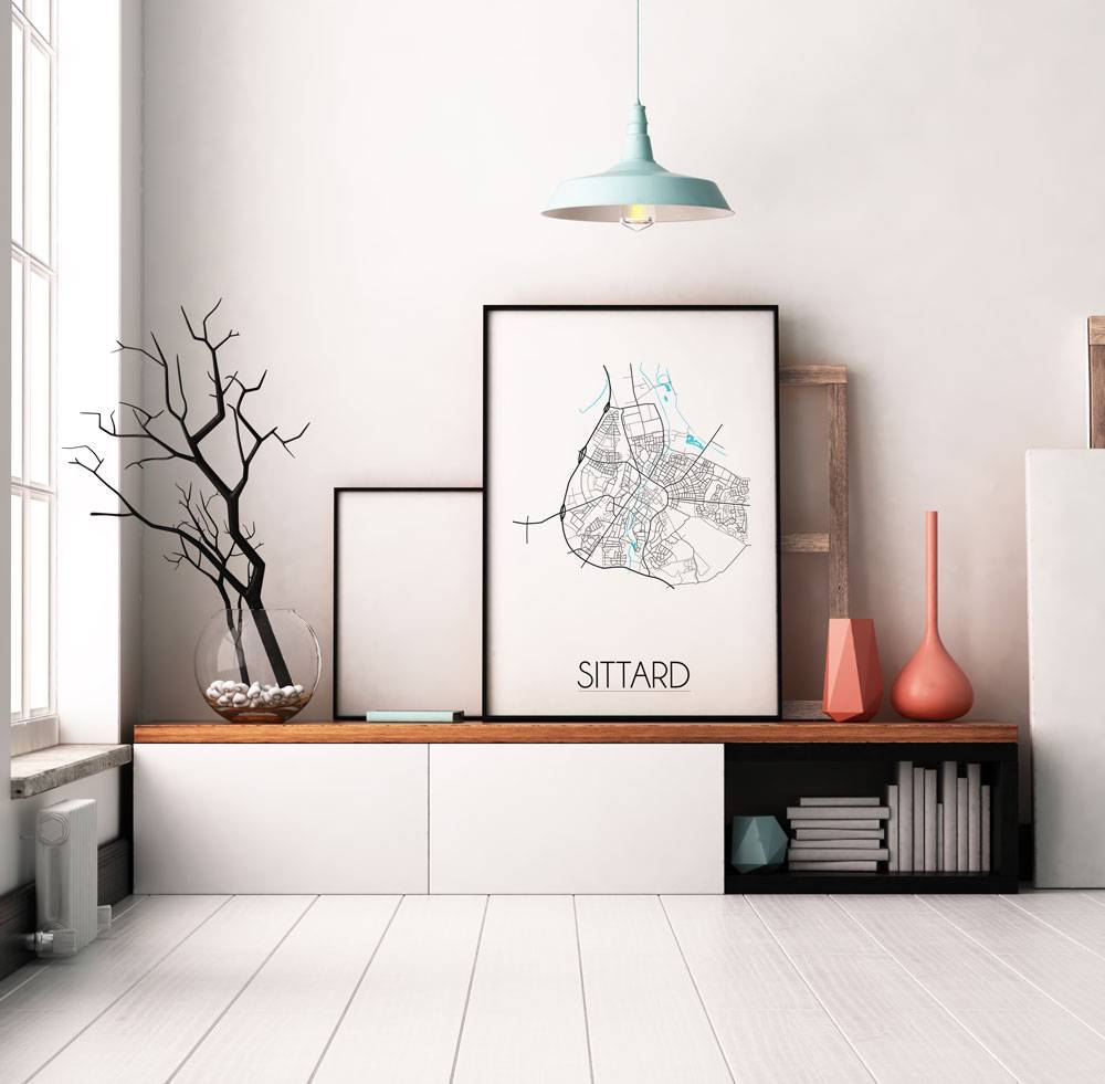karte-sittard-stadtplan-poster-weiß -