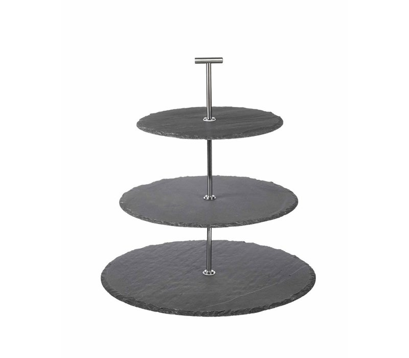 CAKE STAND 3TIER in SLATE
