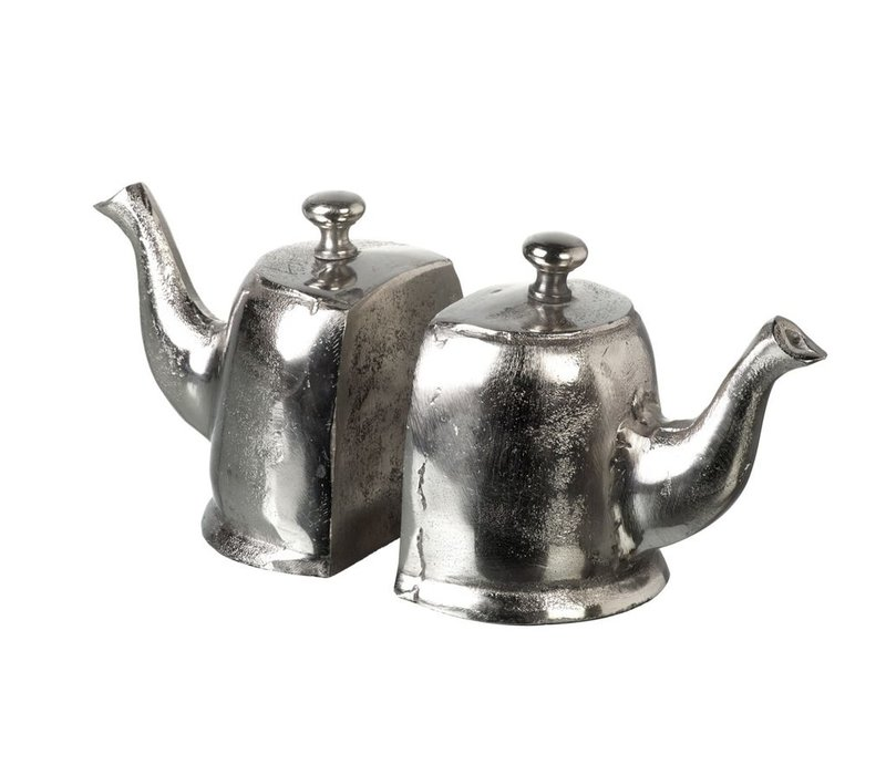 BOOKENDS TEAPOT in Silver - Set of 2