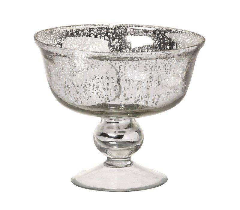 DISH MERCURY in GLASS ANTIQUE SILVER - Small