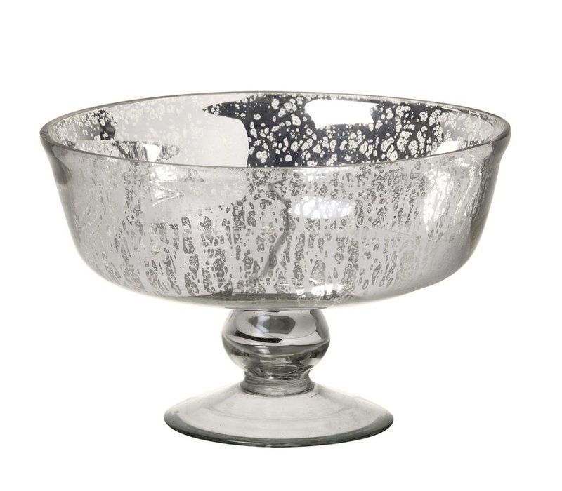 DISH MERCURY in GLASS ANTIQUE SILVER - Medium