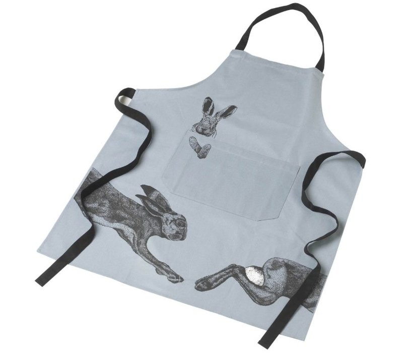 APRON with HARE in COTTON GREY & BLACK