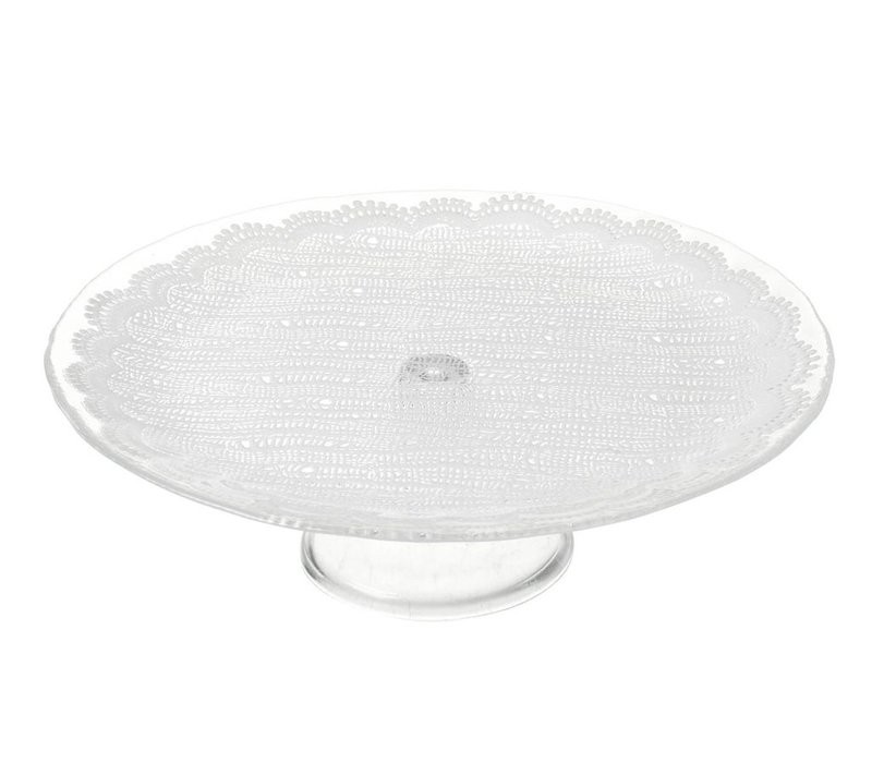 CAKE STAND LACE - Clear Glass & Lace