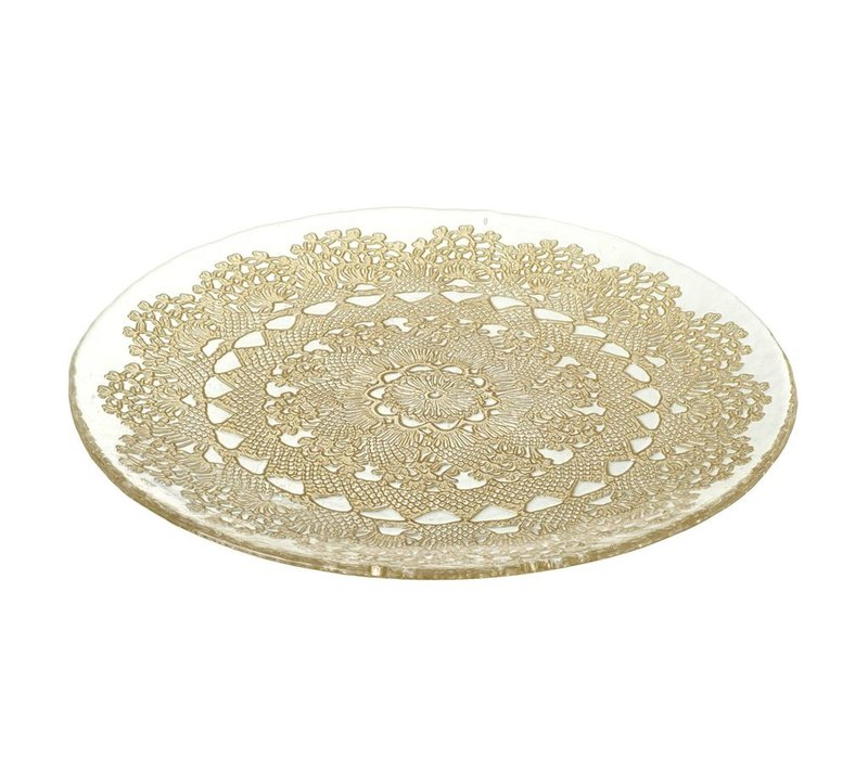 PLATE DOILY - Glass & Gold - D285mm