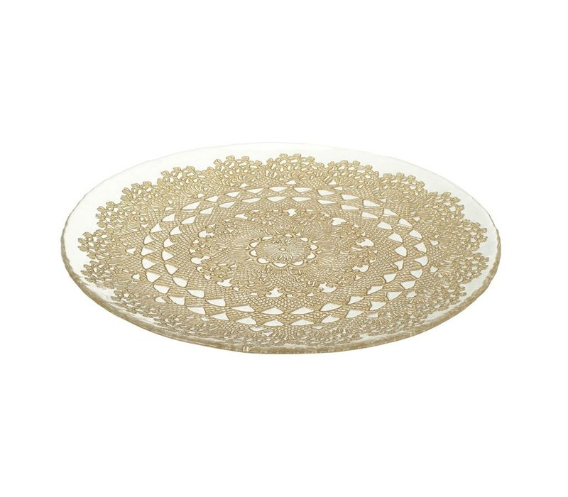 PLATE DOILY - Glass & Gold - D330MM