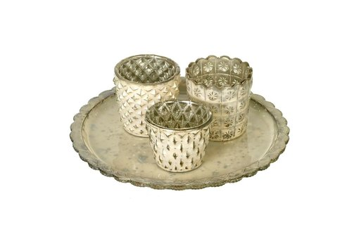 Homestore TEA-LIGHT HOLDER X3 with PLATE ROSA in GOLD