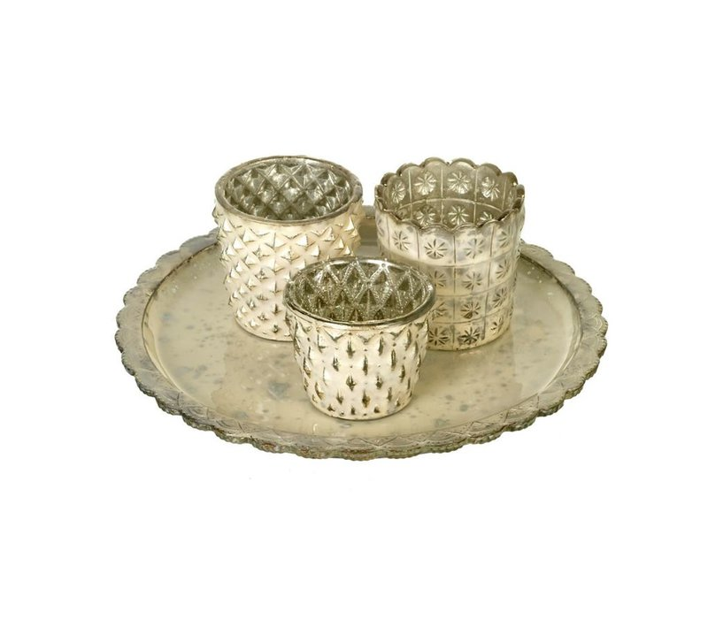 TEA-LIGHT HOLDER X3 with PLATE ROSA in GOLD