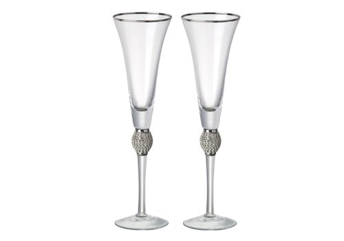 Homestore FLUTE OPHELIA Clear Glass with Silver - Set of 2