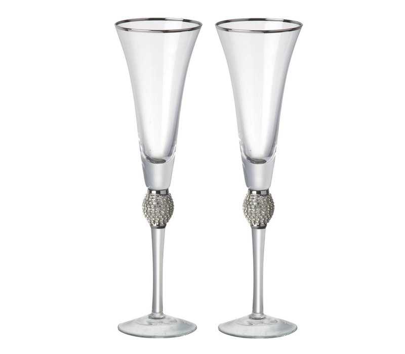FLUTE OPHELIA Clear Glass with Silver - Set of 2