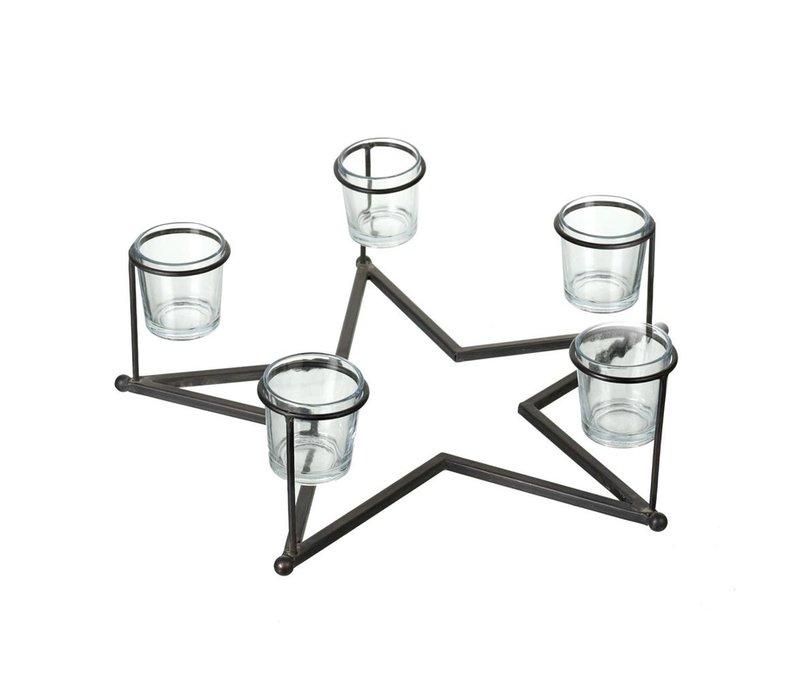 TEA-LIGHT HOLDER STAR (X5 Candles)
