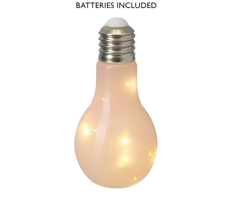 BULB with LED LIGHTS (X10) in Pink Glass