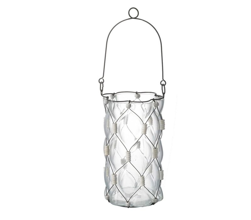 LANTERN with WIRE & BEADS in Metal & Clear Glass
