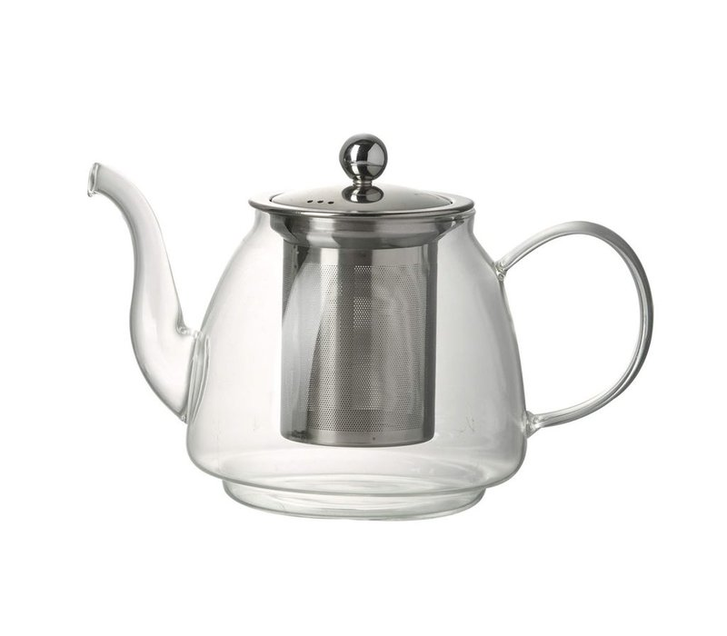 TEAPOT JEMIMA in Clear Glass & Stainless Steal - Small