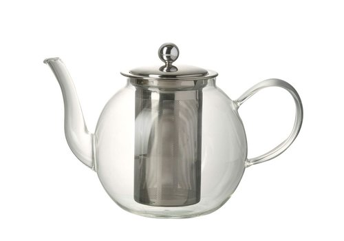 Homestore TEAPOT JEMIMA in Clear Glass & Stainless Steal - Medium