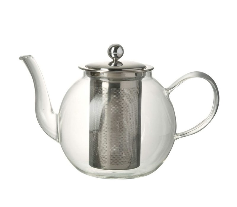 TEAPOT JEMIMA in Clear Glass & Stainless Steal - Medium