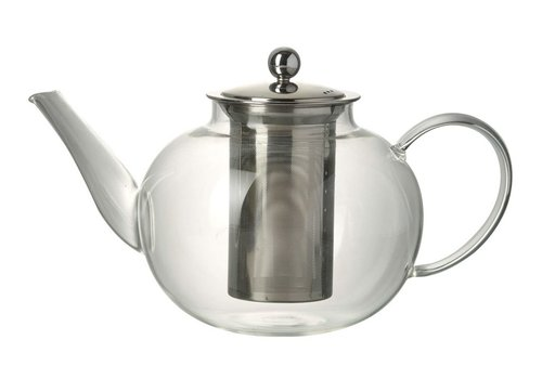 Homestore TEAPOT JEMIMA in Clear Glass & Stainless Steal - Large