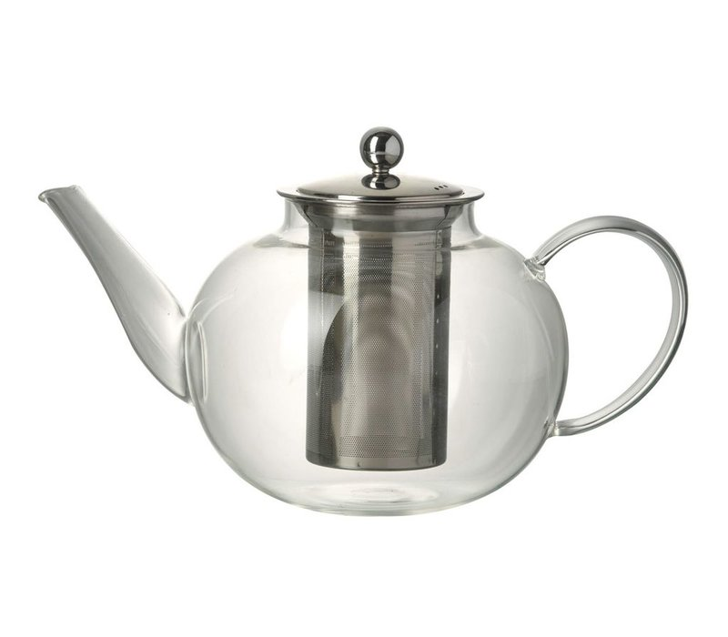 TEAPOT JEMIMA in Clear Glass & Stainless Steal - Large