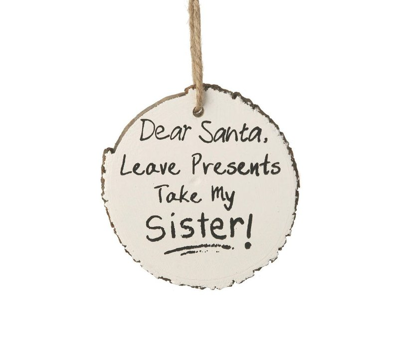 HANGING SIGN SISTER in WHITE WOOD