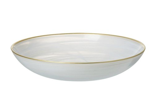 Homestore BOWL ALABASTER in WHITE & GOLD GLASS - Small