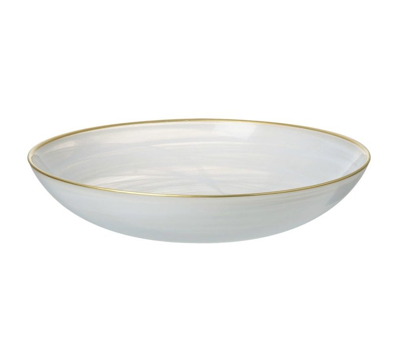 BOWL ALABASTER in WHITE & GOLD GLASS - Small
