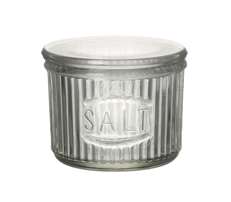 SALT JAR with LID in GLASS CLEAR