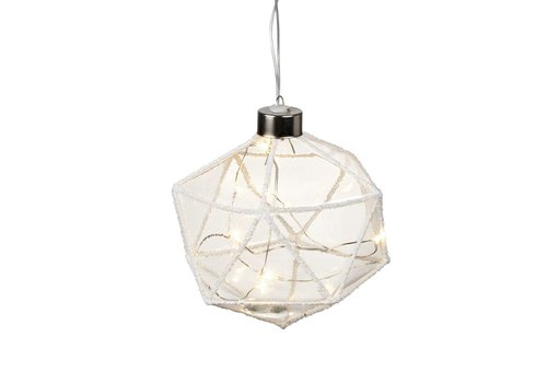 Homestore DIAMOND with LED LIGHTS in Clear Glass with Glitter - Small