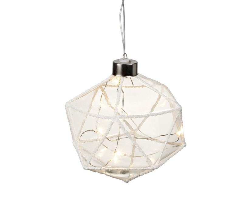 DIAMOND with LED LIGHTS in Clear Glass with Glitter - Small