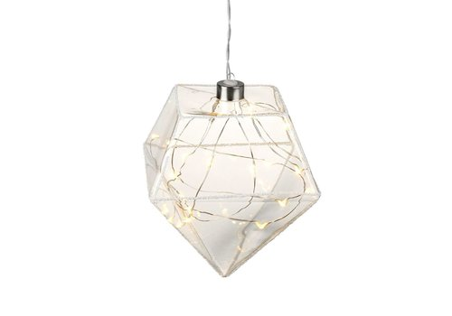 Homestore DIAMOND with LED LIGHTS in Clear Glass with Glitter - Medium