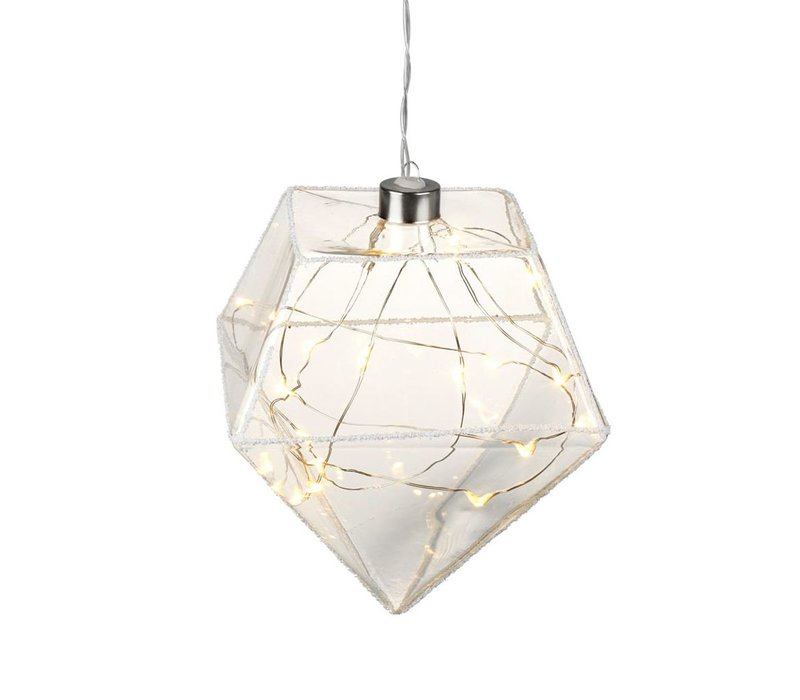 DIAMOND with LED LIGHTS in Clear Glass with Glitter - Medium