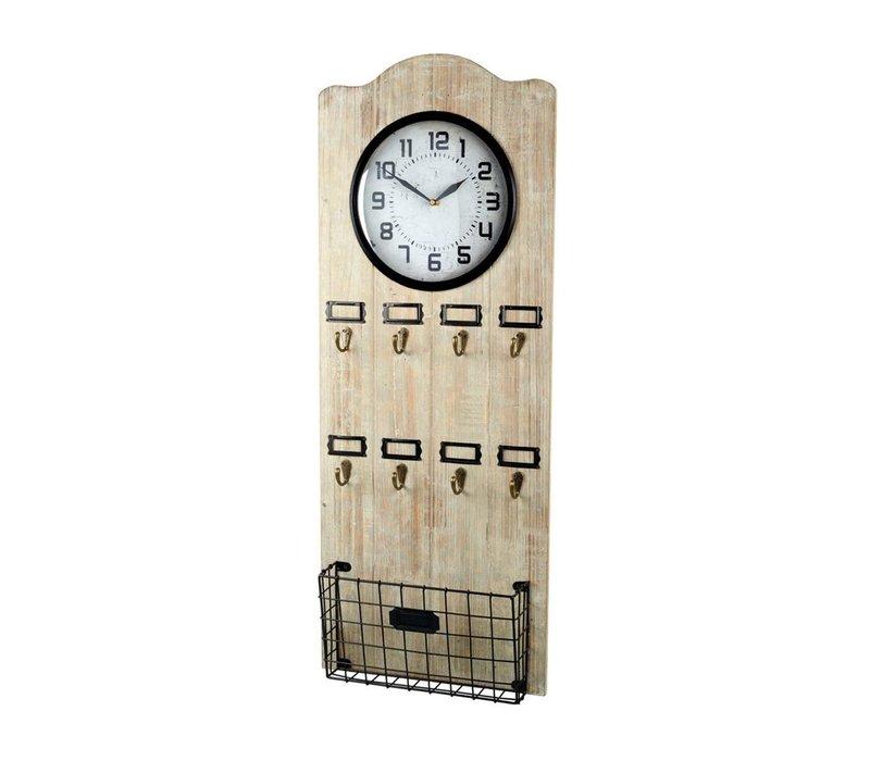CLOCK VESTIBULE in Natural Wood & Metal