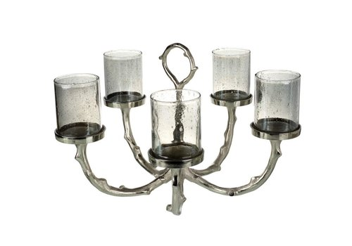 Homestore CANDLE HOLDER (X5) in Timber, Aluminium, Glass & Silver