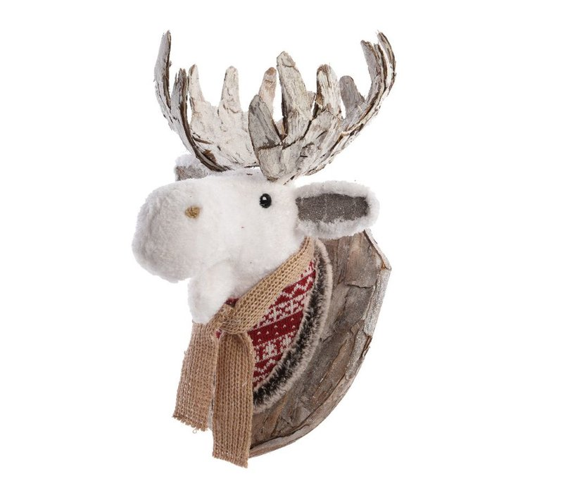 Moose with scarf wall trophy