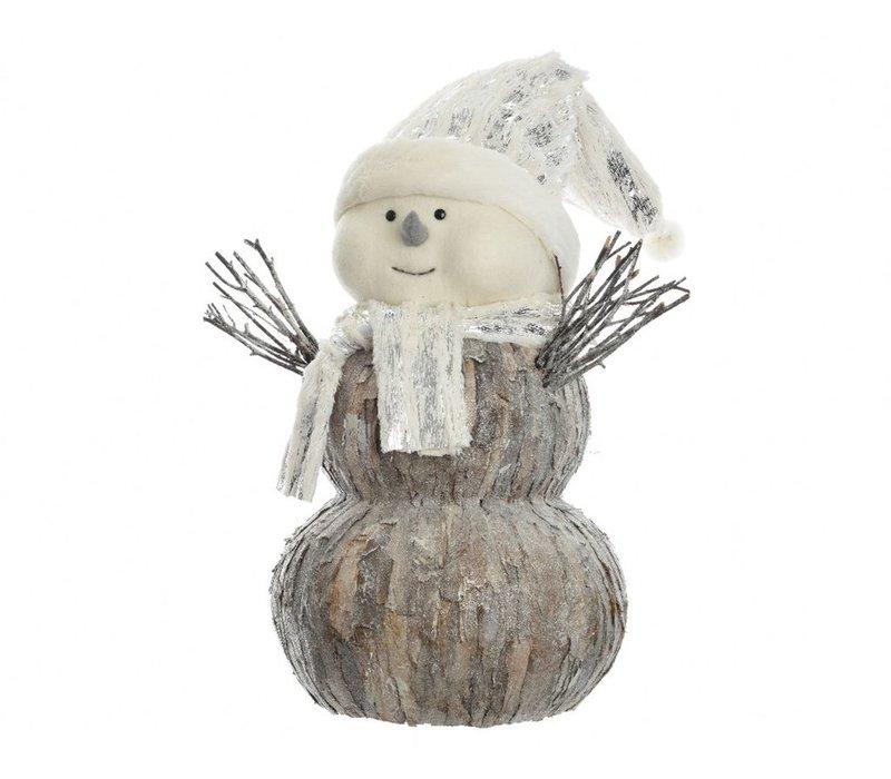 Snowman with bark & fur - small