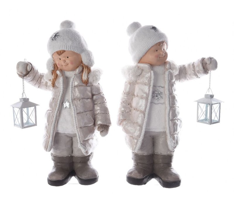 Winter boy or girl with lantern in white & sliver