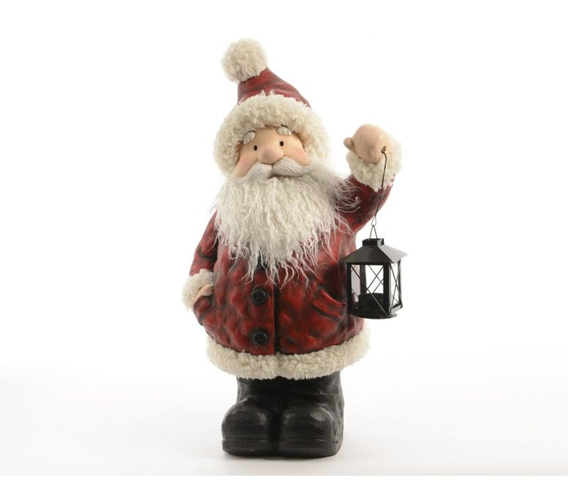 Santa with lantern in oxblood red with fur