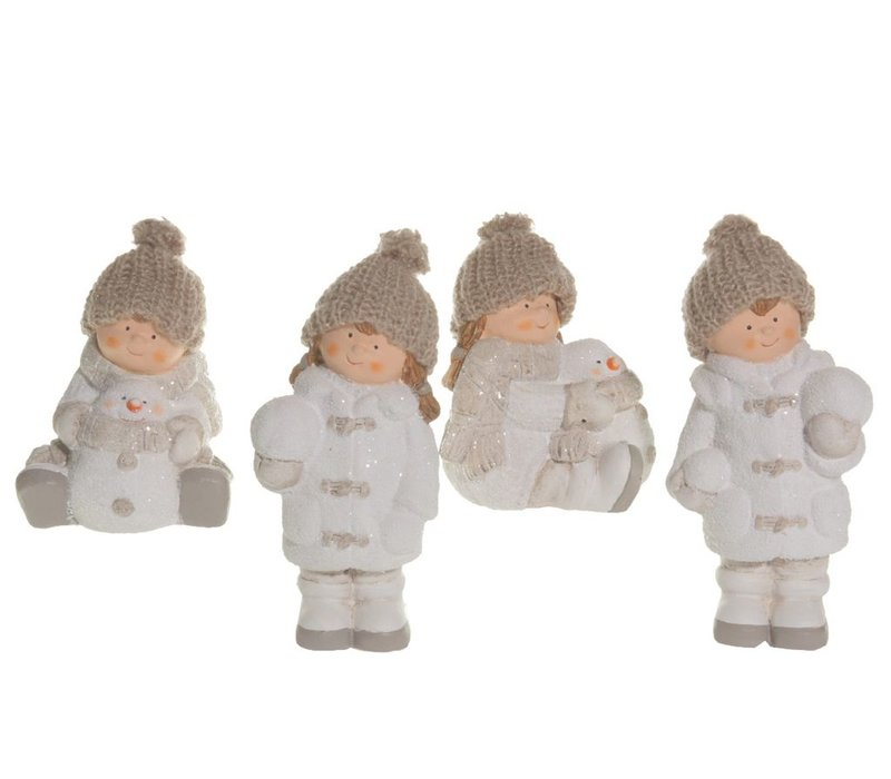 Winter boy or girl with snowman or snowball