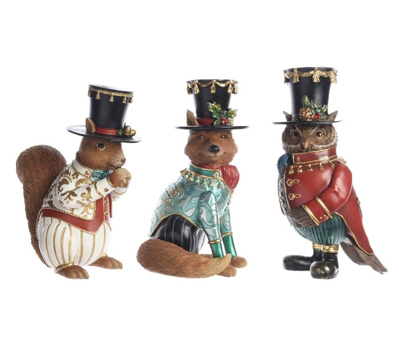 Fox, squirrel or owl in top hats - large