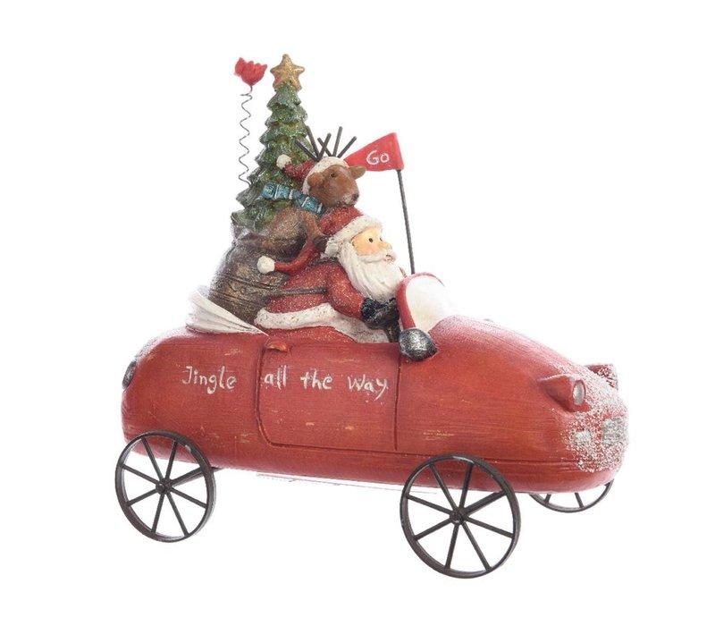 Santa in red car