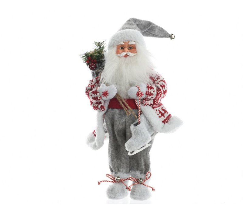 Santa with bag & iceskates in grey, red & white - small