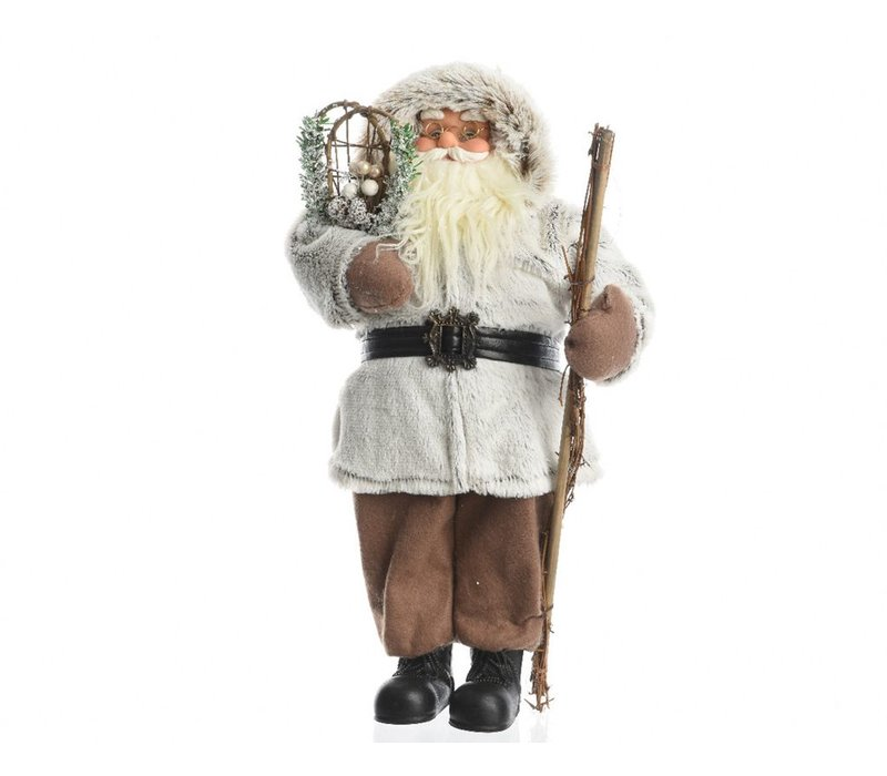 Santa with fur coat & stick - large