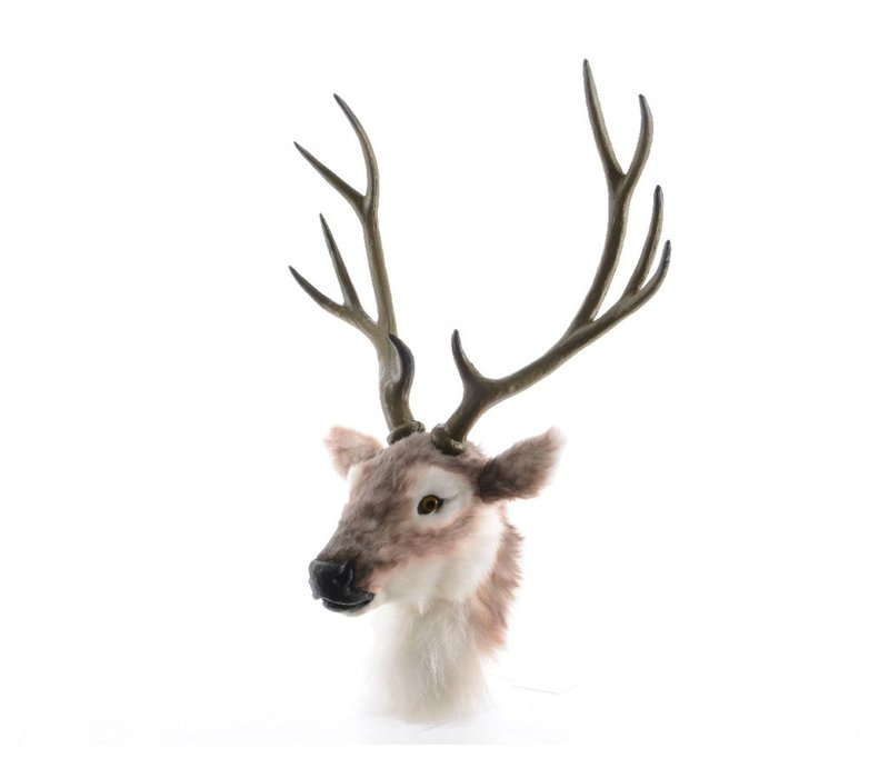 Deer head with antlers in brown & white