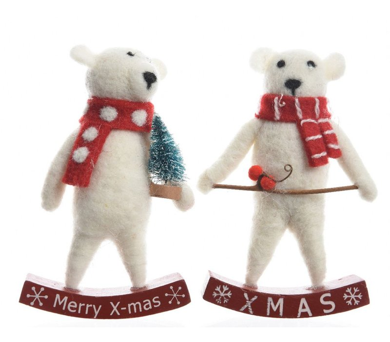 Polar bear with red & white scarf