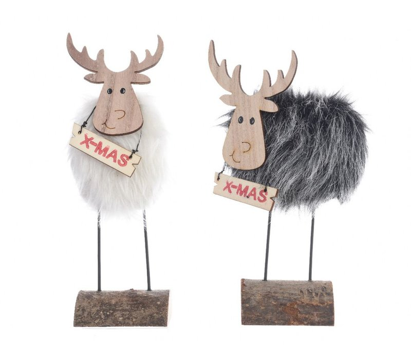 Grey or white reindeer on pinewood base