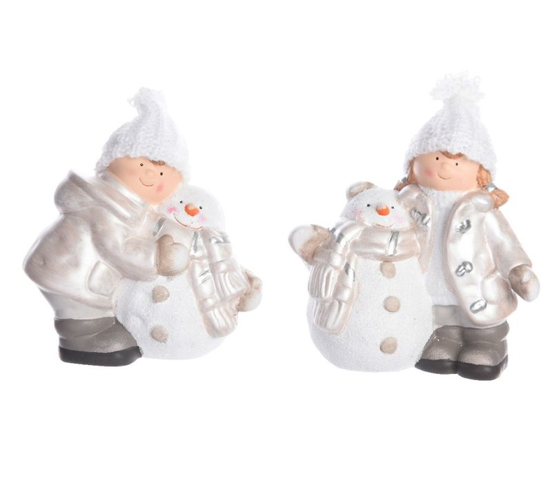 Winter boy or girl with snowman - ceramic