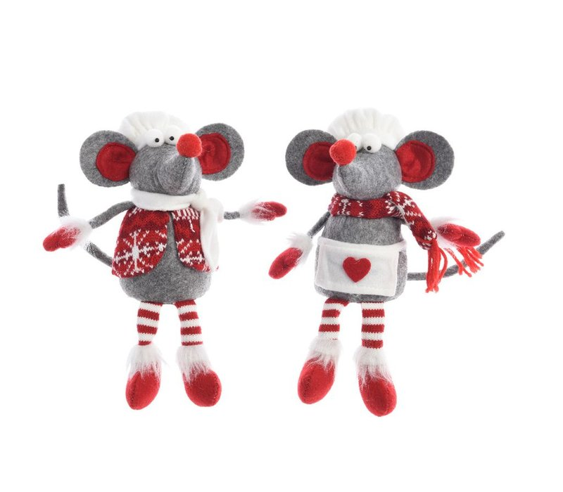 Mouse chef with apron or vest, grey red & white