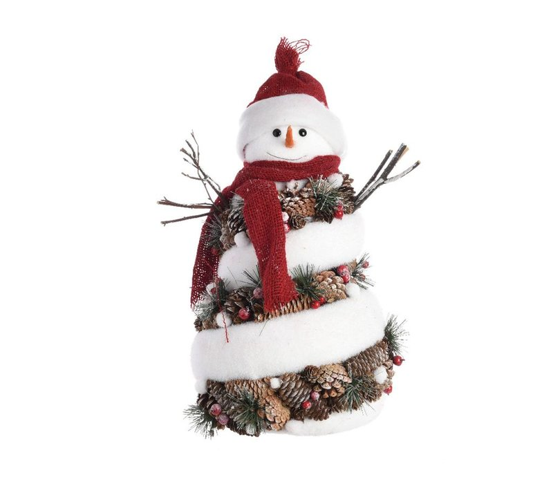 Snowman with pinecones in hat & scarf - Medium