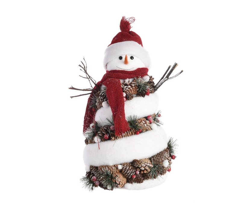 Snowman with pinecones in hat & scarf - Large